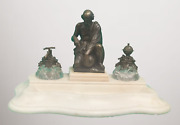 Art Nouveau Inkwell With Bronze Sculpture Attributed To Auguste Moreau [4303]