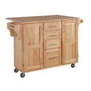 Natural Wood Kitchen Island With Breakfast Bar Spice Rack 52.5 In. Rolling Cart