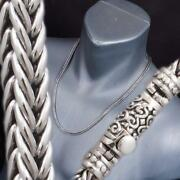 Handmade Woven Braided Snake 925 Sterling Silver Mens Necklace Chain 20 22 24 26