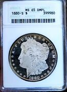 Morgan Silver Dollar 1880 S Anacs Ms 65 Dmpl Monster Black And White Wow Coin Pq