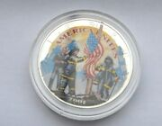 2001 1 Oz American Silver Colorized Remembering Our Heroes Coin Bu
