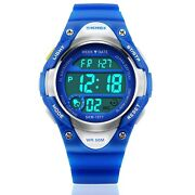 Boys Sport Digital Watch, Kids Outdoor Waterproof Electronic Watches With Led