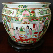 Chinese Large Old Famelia Rose And Gold Porcelain Fish Planter Jardiniere 1800and039s