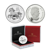 2014 15 Canada Year Of The Horse 1 Oz Fine Silver Proof Coin Ogp/coa