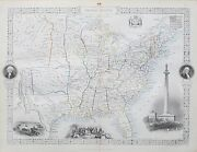 C1854 United States Of America Usa Genuine Antique Map By Rapkin Free Shipping