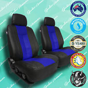 Volvo 940 Blue/black Leather Front Car Seat Covers, Vinyl All Over Seat