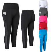 Womens Compression Pants 3/4 Length Cropped Leggings Running Jogger With Pockets