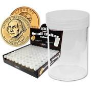 Small Dollar Coin Tubes Box Of 100 Round Bcw Screw Top Best Price Free Shipping
