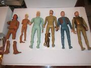 4 1960and039s Louis Marx Solid Plastic Warrior Figures And 2 Other Figures - Tub D