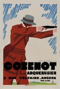 Original Vintage French Poster For Cozenot Arquebusier Rifle Firearm By Jean A