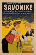 Original Vintage French Alcohol Poster Savonike Soap By Oge Ca. 1911