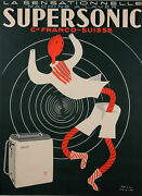 Original Vintage French Poster For Supersonic - Machine A Laver By Paul Colin