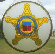 Hand-made United States Secret Service Usss Stained Glass Medallion Souvenir
