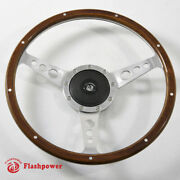 14and039and039 Classic Riveted Wooden Steering Wheel Custom Ford Mustang Shelby Ac Cobra