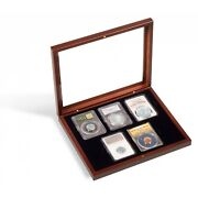 5 Certified Pcgs Ngc Slab Coin Wood Box W/ Glass Lid Safe Storage Display Case