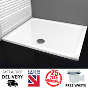 Mx Elements Rectangle Square White Low Slimline Stone Resin Shower Tray + Waste