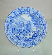 English Plate Blue And White Transferware Riley's 10 Country Scene Antique