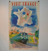 French Travel Poster Visit France Sncf French National Railway Co Train 1952
