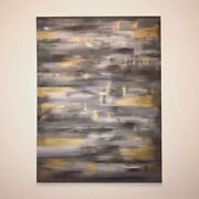 Original Signed Abstract Painting Black And Gold Acrylic On Canvas