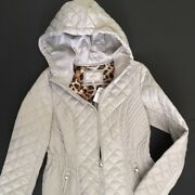Women's Small Laundry Quilted Jacket Light Gray Hip Length Leopard Print Lining