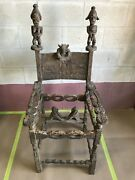 African Antique Ceremonial Throne - Chair With Figurative Scenes