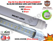 5 Ft R17d F60 Ho T8 T12 Replace Double Line Led 36w Clear Milky Lens Tube Light