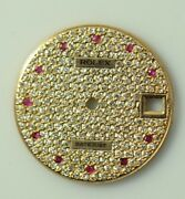 18k Gold Diamond Midsize Dial With Ruby Markers For Rolex 31mm Watches