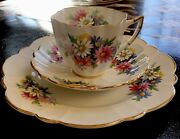 Victoria Cande Bone China Made In England Cup, Saucer And 8 Plate. Vintage