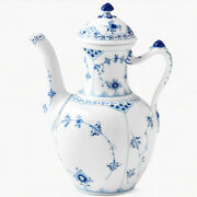 Blue Fluted Half Lace Royal Copenhagen Coffee Pot 9.5 519 New Never Used