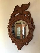 Federal Style Carved Wooden Eagle W Spread Wings Wall Hanging Mirror 24