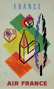 Original Vintage French Poster For Air France Advertising France By Carlu