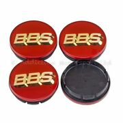 4x Genuine Bbs Centre Caps Red With Gold 3d Bbs Logo 56mm - 56.24.012