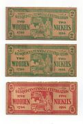 1936 Columbia Sesqui-centennial Celebration Lot Of 3 Wooden Nickels And Stamp