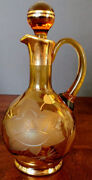 Moser Amber Cut To Frosted Glass W-flower And Gold, Rare Carafe W-stopper 1910