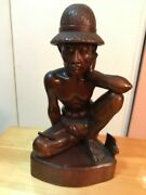 Bali Hand Carving Wood Statue Worker Male .