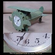 Rare 1920-40 Lux Novelty Airplane Clock Green Celluloid