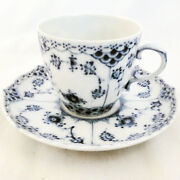 Blue Fluted Full Lace Royal Copenhagen Cup And Saucer New Never Used Made Denmark