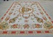 9and039 X12and039 Stunning Aubusson Handmade Floral Rug Royal Crown Rose Bouquet Ivory Red
