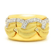 Vintage Diamond Wavy Cigar Band 18k White And Yellow Gold .30ctw