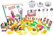 Kids Play Kitchen Cookware Sets Stainless Steel Pots And Pans Set With Plastic