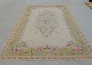 6' X9' Antique Aubusson French Shabby Chic Rug Handmade Wool Floral Oliver Beige