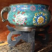 Qing Dynasty Early 19th Century Antique Chinese Cloisonne On Bronze Censor