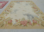 10and039 X 14and039 Shabby Chic Aubusson Floral Rug Elephants Vintage Country Theme Decor