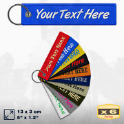 X6 Jet Key Tag Custom Embroidered Keychain Name Tag Text Backpack Luggage Ring