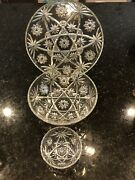 3 Pc Vintage Early American Prescut Star Of David Platter And 2 Bowls
