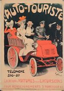 Rare - Original Vintage French Poster L'auto-touriste By Grun - Before 1901