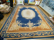 9and039x12and039 French Aubusson Rose Garland Rug Navy Brown Hand-woven Floral Wool Ivory
