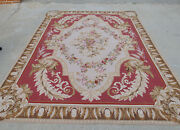 9and039 X 12and039 Vintage Aubusson Floral Garland Rug French Antique Handmade Red Brown