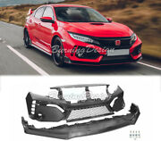 Type-r Style Front Bumper Glossy Black Fascia Set For 16-18 Civic Coupe Sedan