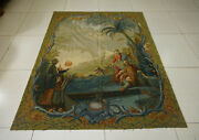 5' X 6' Antique Religious Aubusson Tapestry New Zealand Wool Flat Weave Vintage